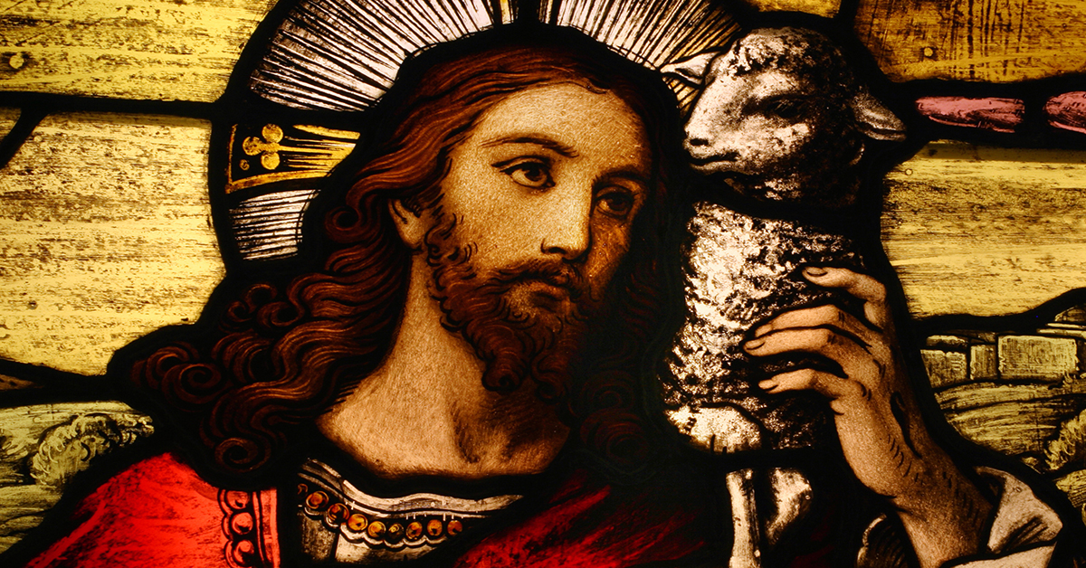 Stained Glass Image of Jesus with Lamb
